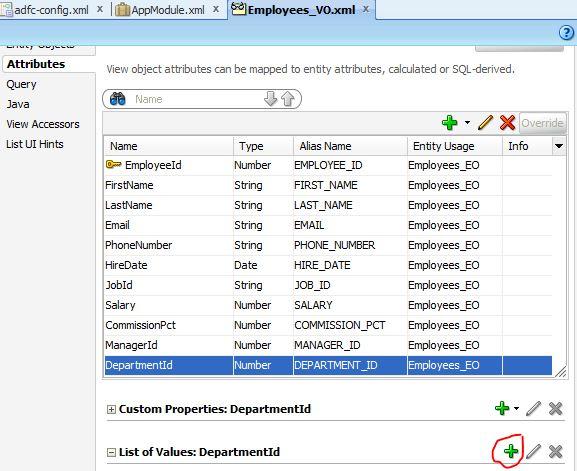 Add LOV to the DepartmentId attribute